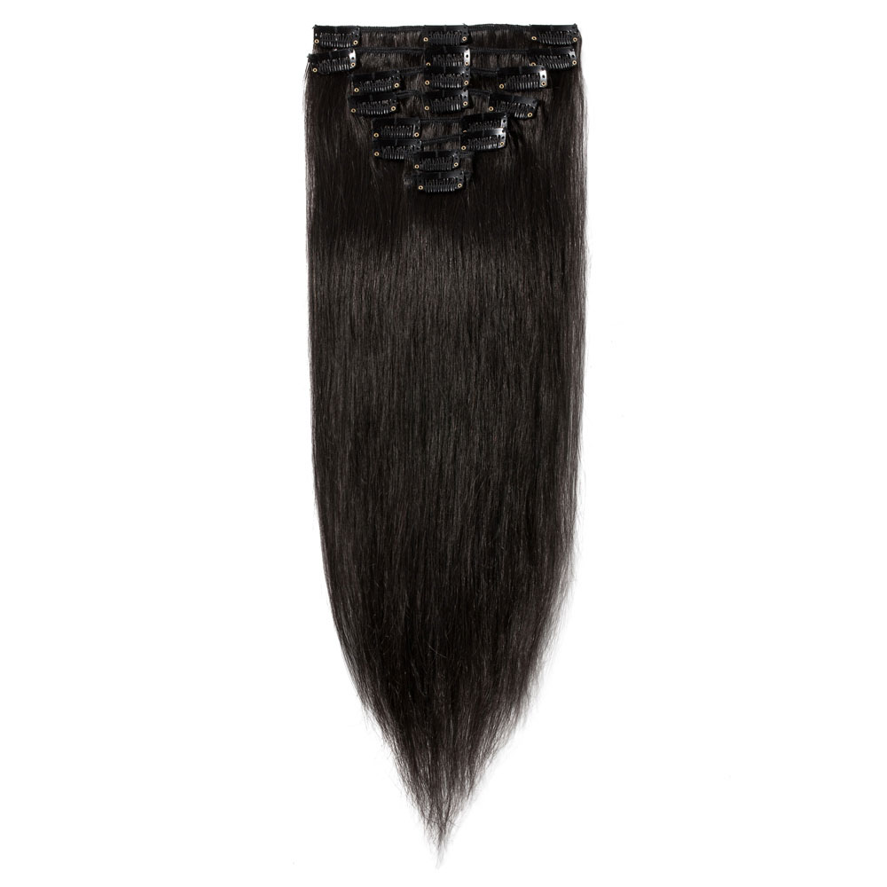8 Pcs Straight Clip In Remy Hair Extensions 1b Natural Black