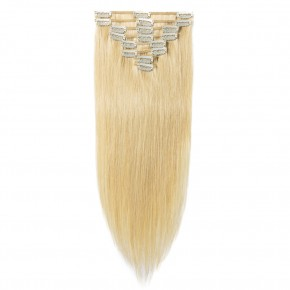8 Pcs Straight Clip In Remy Hair Extensions #24 Ash Blonde