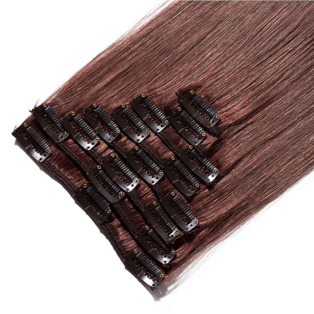 8 Pcs Straight Clip In Remy Hair Extensions 33 Dark Auburn