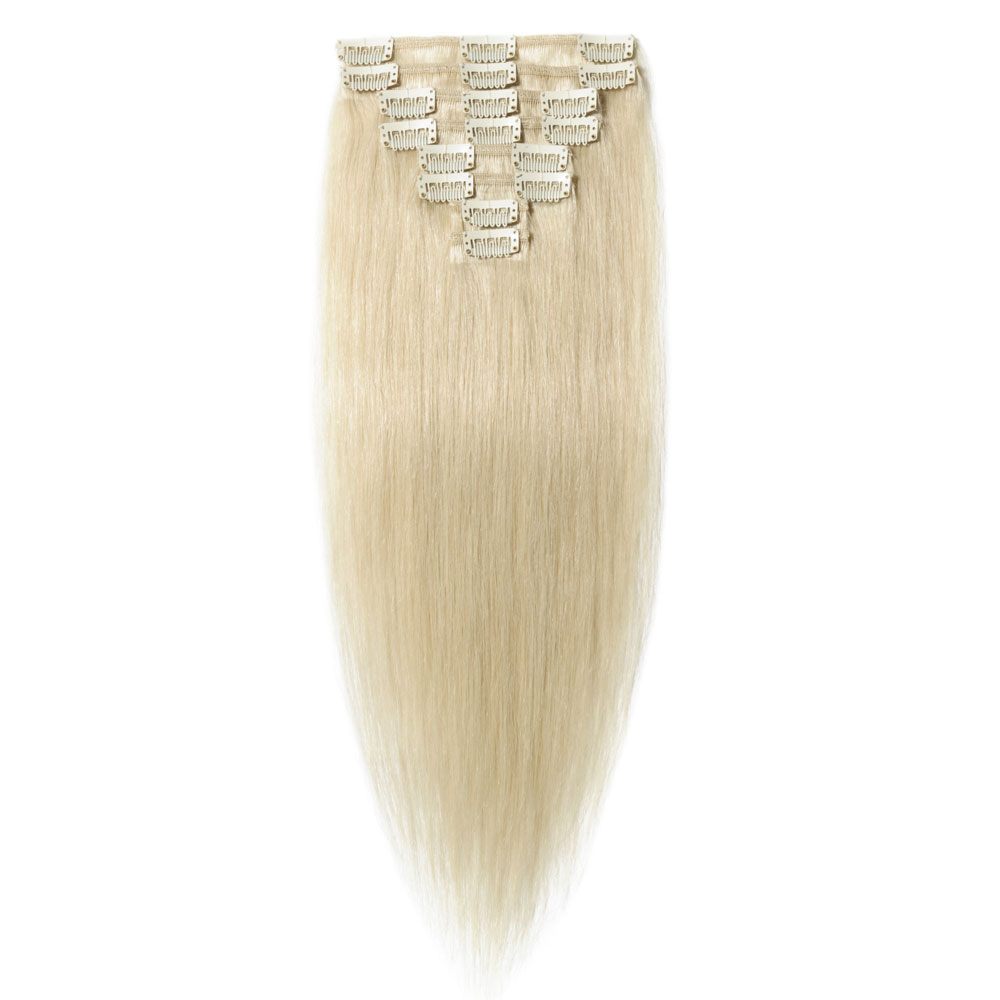 8 Pcs Straight Clip In Remy Hair Extensions 60 Platinum Blonde