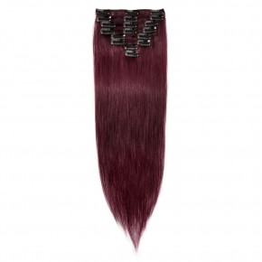 8 Pcs Straight Clip In Remy Hair Extensions #99J Wine Red