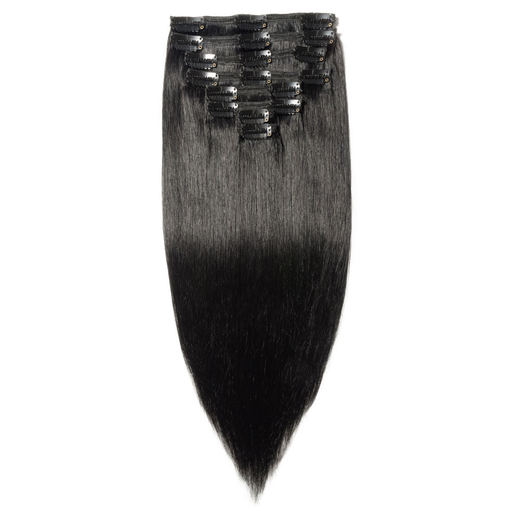 8 Pcs Double Weft Straight Clip In Remy Hair Extensions 1 Dark Black