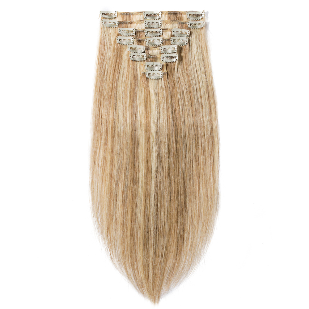 8 Pcs Double Weft Straight Clip In Remy Hair Extensions 12613