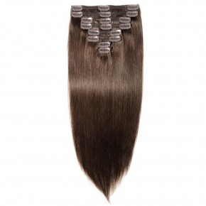 8 Pcs Double Weft Straight Clip In Remy Hair Extensions #2 Dark Brown