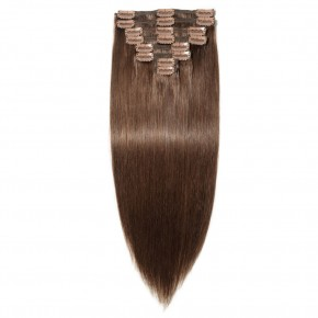 8 Pcs Double Weft Straight Clip In Remy Hair Extensions #4 Medium Brown