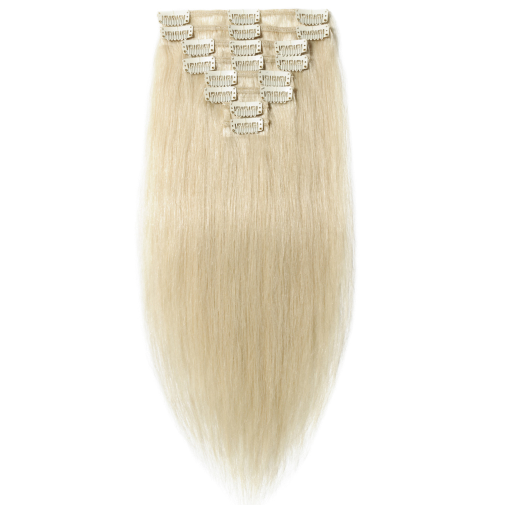 8 Pcs Double Weft Straight Clip In Remy Hair Extensions #60 Platinum Blonde