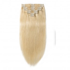 8 Pcs Double Weft Straight Clip In Remy Hair Extensions #613 Bleach Blonde