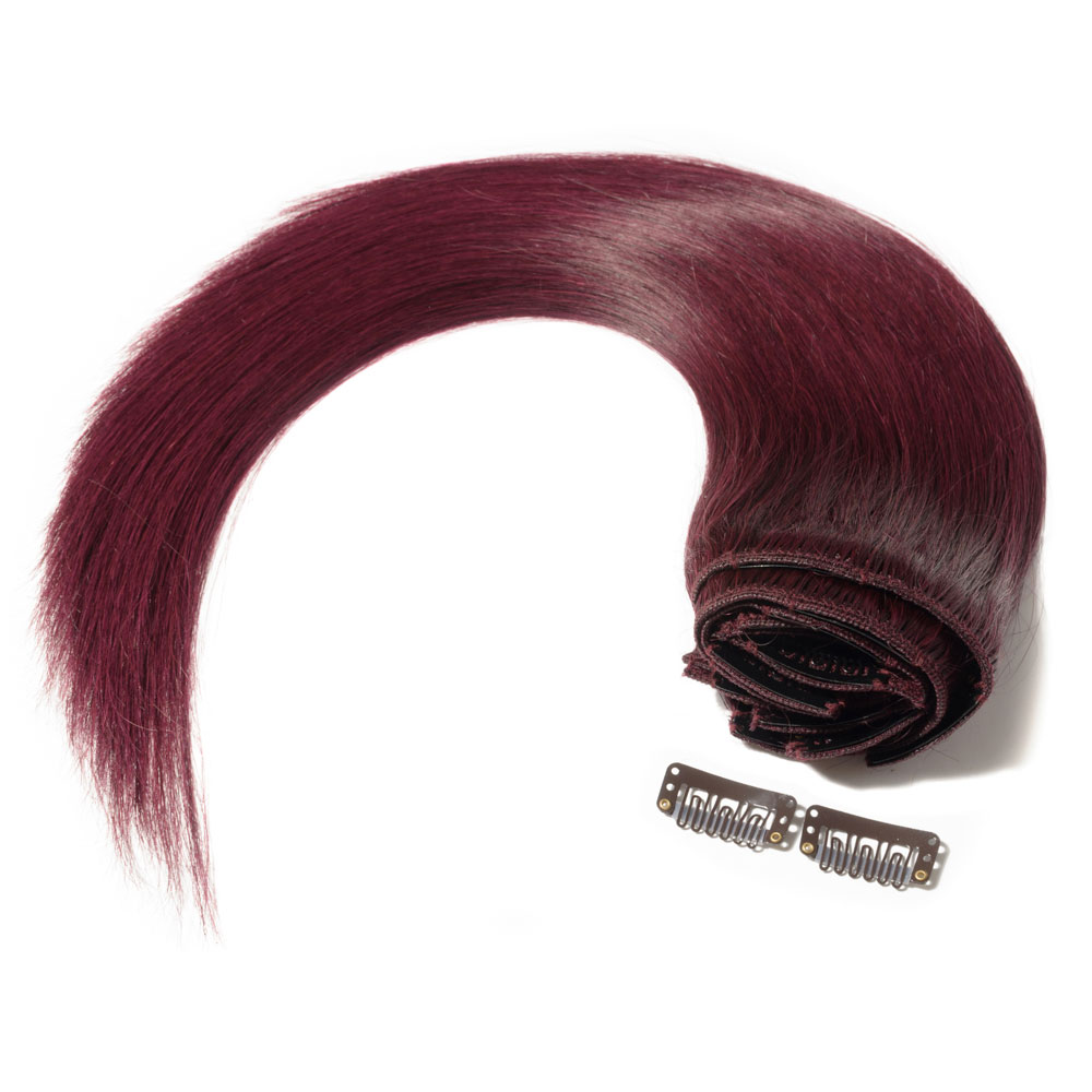 8 Pcs Double Weft Straight Clip In Remy Hair Extensions 99j Wine Red