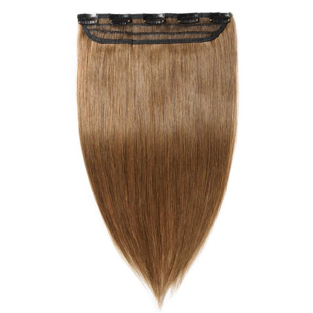 1 Piece Straight Clip In Remy Hair Extensions 6 Light Brown