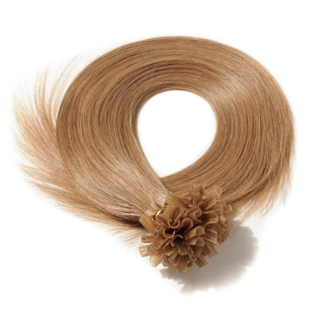 16 22 Inch Straight U Tip Hair Extensions 12 Light Golden Brown