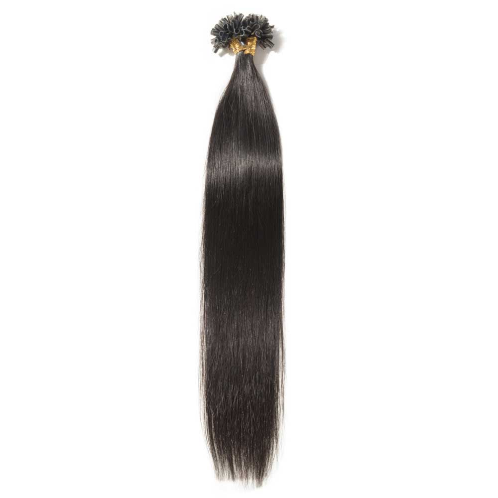 16-22 Inch Straight U-Tip Hair Extensions #1B Natural Black