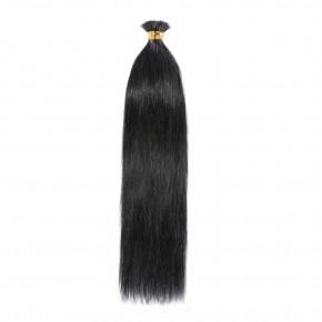 16-22 Inch Straight I-Tip Hair Extensions #1 Dark Black