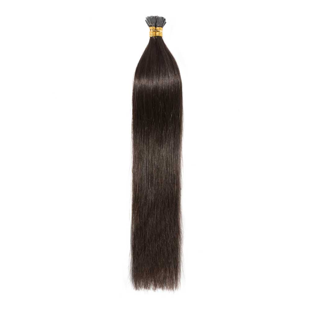16-22 Inch Straight I-Tip Hair Extensions #2 Dark Brown