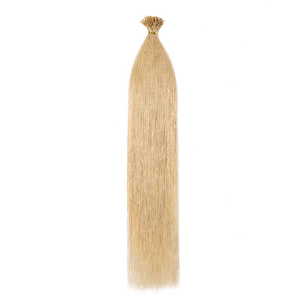 16-22 Inch Straight I-Tip Hair Extensions #24 Ash Blonde