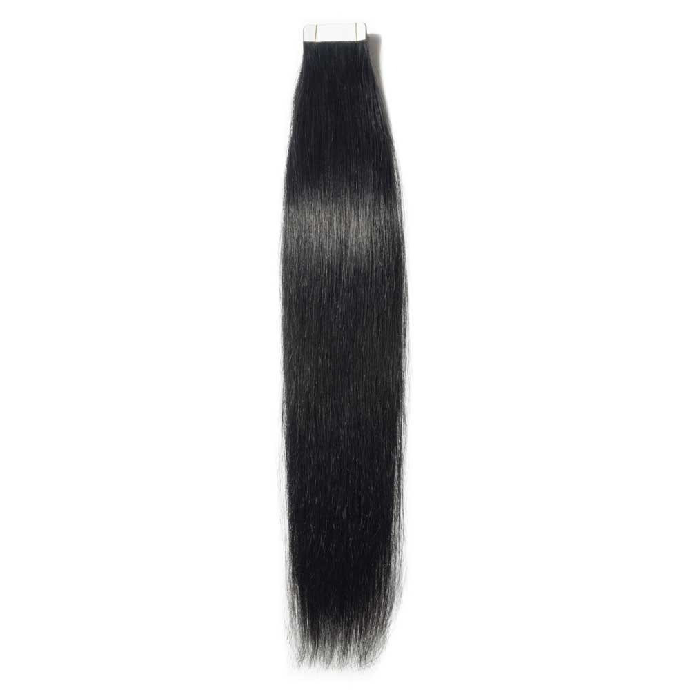 16-24 Inch Straight Tape In Hair Extensions #1 Dark Black