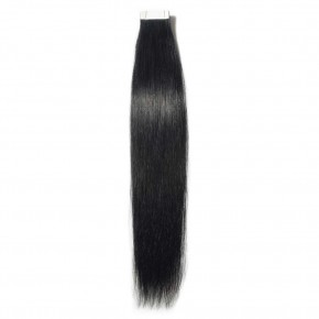 16-24 Inch Straight Tape In Hair Extensions #1 Dark Black