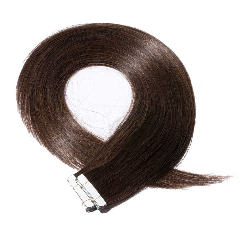 16 24 Inch Straight Tape In Hair Extensions 4 Medium Brown