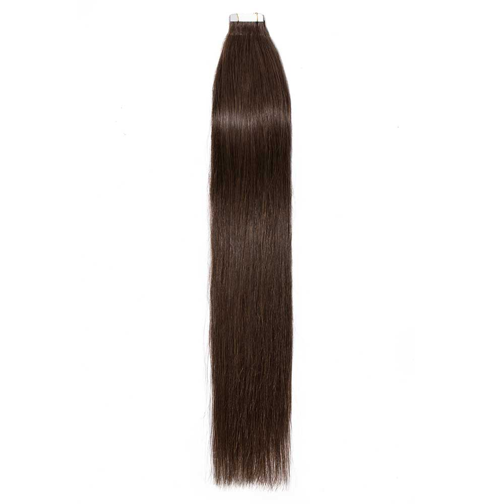 16-24 Inch Straight Tape In Hair Extensions #4 Medium Brown