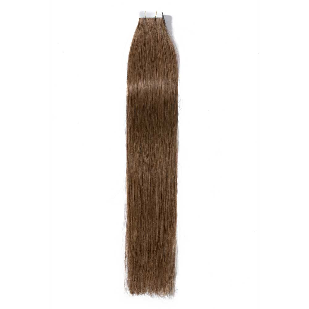 16 24 Inch Straight Tape In Hair Extensions 6 Light Brown