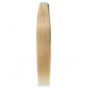 16-24 Inch Straight Tape In Hair Extensions #613 Bleach Blonde