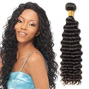 10-24 Inch Deep Curly Virgin Brazilian Hair #1B Natural Black