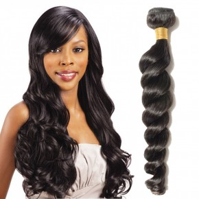 10-24 Inch  Loose Wavy Virgin Brazilian Hair #1B Natural Black