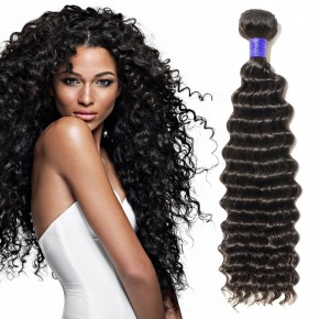 10-24 Inch  Deep Curly  Virgin Peruvian Hair #1B Natural Black